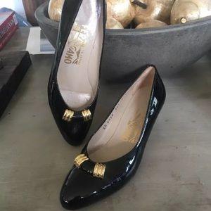 Salvatore Ferragamo black patent leather heels sz5